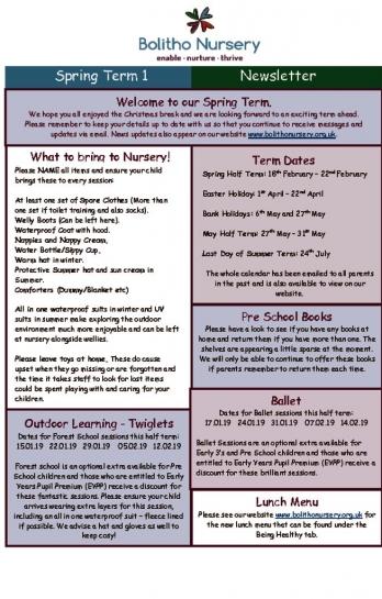 thumbnail of Spring Term 1 Newsletter